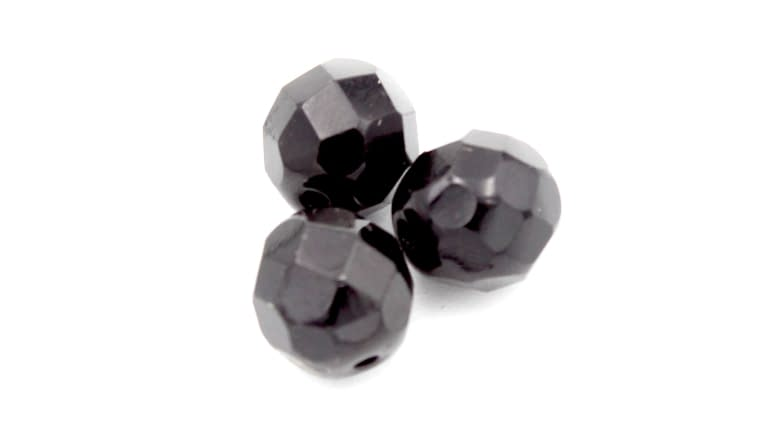 Big Daddy Glass Beads Faceted - FB-BLK-8MM
